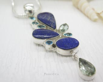 Lapis lazuli Blue Topaz and Green Amethyst Sterling Silver Pendant and Chain