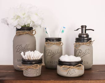 Bathroom Jar Set bathroom set | etsy