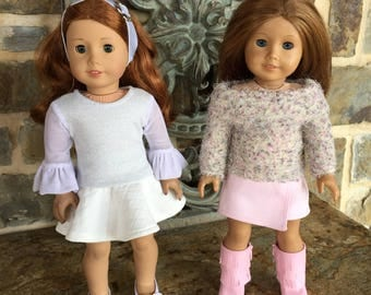 "18 "" doll clothes made to fit dolls like the American girl doll--skater skirt-sparkly top- sheer bell sleeves-asymmetrical skirt-fuzzy top"