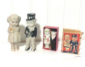 Lot of Vintage Bisque Wedding Figurines Matchbox