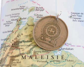 Malaysia coin necklace - made of an original coin from Malaysia - travel - wandering