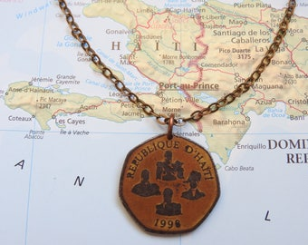 Haiti coin necklace/keychain - 2 different designs - made of an original coin from Haiti - travel - wanderlust - explore