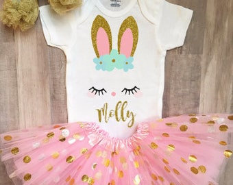 First Easter Onesie, Baby Girl First Easter Outfit, Easter Dress, Toddler Easter Shirt, Personalized Easter Outfit
