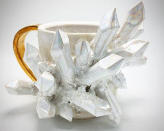 MADE-TO-ORDER: Aura Quartz, Matte White and Gold Handled Mug