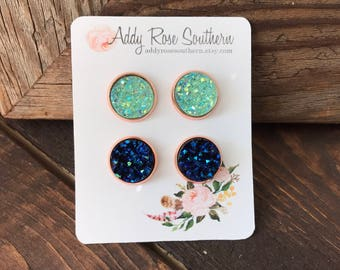 12mm gold druzy earrings, druzy studs, druzy earrings, mint druzy earrings, blue druzy earrings, bridesmaid druzy earrings, blue druzy, mint