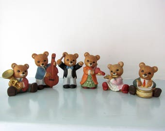 Teddy bears, musical, bear figurines, teddy ornament, orchestra, conductor and his band, musical gift,