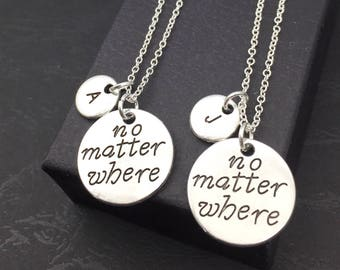 Set of 2 Best Friend Distance Necklaces, Distance Jewelry, Personalized necklace set of 2, Friendship Distance, Keepsake, BFF jewelry for 2