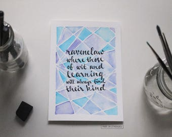 Watercolour Painting - Ravenclaw/ Blue, Geometric, Harry Potter-Inspired + Sorting Hat Quote