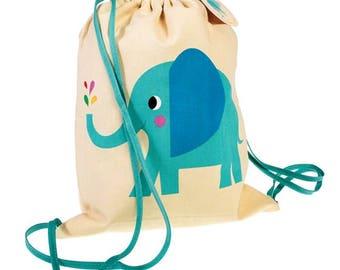 Personalised Child's Drawstring Bag, Rucksack, Elephant, Personalized Bag, nursery school