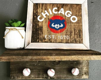Vintage Cubs sign & Baseball shelf - ready to hang - customizable