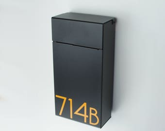 Black Slim Modern and contemporary mailbox , Modern Mailbox, Wall Mounted mailbox - contemporary - black #714b