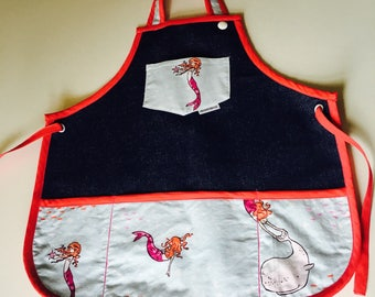 Ready / apron child 2 to 6 years / kid /gift apron for girl / kitchen apron for kid / mermaid / mermaids / navy blue jeans / denim Navy