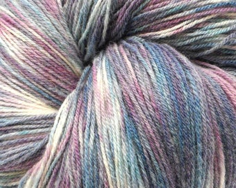 "Wool ""Sally"" hand paint multicolor knitting yarn DK 3-ply worsted 3.5oz/270yd"