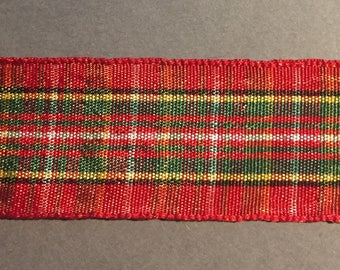 1 in Red, Green, and Gold Checkered Ribbon