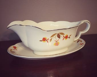 Vintage Hall's Superior Jewel Tea Co. Ruffled Gravy Boat with Underplate