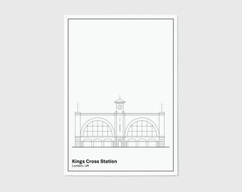Kings Cross Station, Line, London Print | London Artwork | London Illustration | Architecture Print | City Print