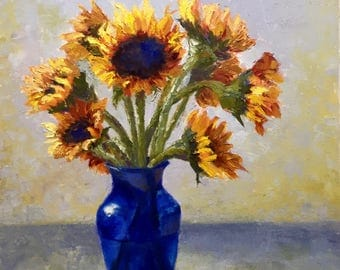 """Sunflowers in a Blue Vase original oil painting 30x24"""""""