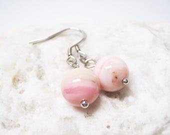 Pink Opal Earrings Pink Opal Jewelry Love Jewelry Dangle Earings Charm Earrings Pink Opal Charm Gemstone Earrings Opal Earrings Gift for Her