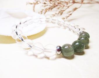 Green Apatite Bracelet Clear Quartz Crystal Bracelet Calming Bracelet Healing Bracelet Spiritual Bracelet Chakra Bracelet Gemstone Bracelet