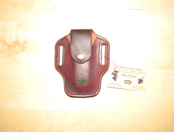 Leather Sheath with Marijuana leaf, custom crafted to a Leatherman© Sheath, sheath for a Multitool, Embossed Case, Leather case, EDC, OWB
