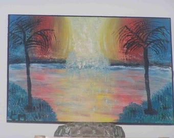 """Rainbow waterfall"" painting on canvas Board (19x27cm)"