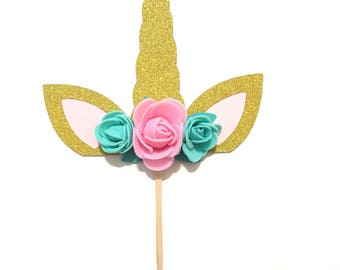 1 pc Flowers Unicorn Horn Ear Gold Glitter Cake Topper for Birthday Baby Toddler Boy Girl Whimsical Theme