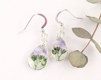 Natural flower earrings, Sterling silver earrings, Real forget me not jewelry, Gift for daughter, Something blue, Botanical jewellery