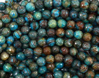 """6mm faceted brown blue turquoise round beads 15.5"""" strand 38748"""