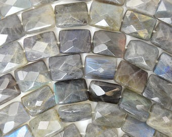 "16mm faceted grey labradorite rectangle beads 15.5"" strand 38543"