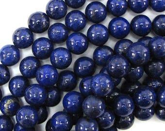"10mm blue lapis lazuli round beads 16"" strand S1 30968"