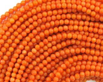 "2.5 - 3mm orange coral round beads 16"" strand 33151"