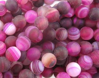 "6mm magenta frost stripe agate round beads 15"" strand 34465"