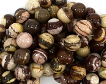 "12mm brown zebra jasper round beads 15.5"" strand 38975"