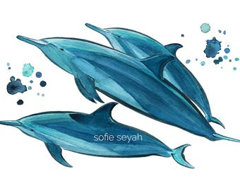 Spinner Dolphins - Sofie Seyah Illustration - Turquoise and Aquamarine Blue Watercolour and Ink - Art Print