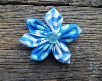 Blue and polka dot, flower dog collar flower accessory small