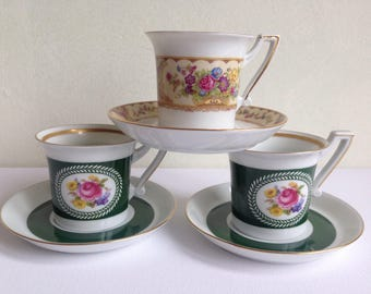 Set of 3 Demitasse Espresso Cups and Saucers Germany