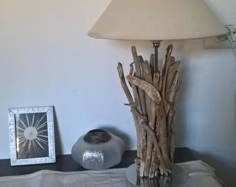 Metal lamp covered with Driftwood