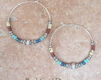 "Beaded Turquoise Red Blue Yellow and Silver Aztec Hoop Earrings, Large 1 3/8"" Diameter"