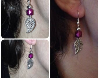 Earrings Pearl and leaf