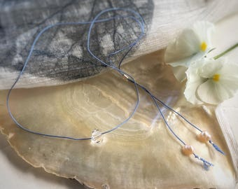 Minimalist Crystal Necklace - Handmade Simple Jewelry. Swarovski clear crystal, pink freshwater pearls, pearl necklace, silk thread, mbpblue