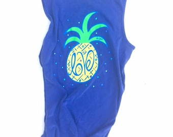 Pineapple Graphic Tank Top  | Blue Comfort Color Graphic  T Shirts