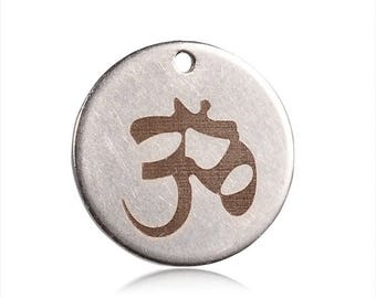 Sequin, pendant steel stainless pattern ohm 1.5 cm hole 1 mm 1piece