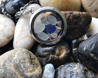 "Rare Cobalt Blue Genuine English Sea Glass. Floating Memory Locket Necklace ""Mermaid Dreams"" StainlessSteel. Handmade in UK. Free UK Deliver"