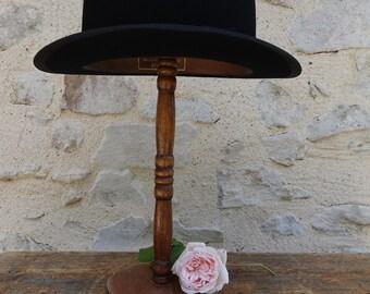Black bowler felt old - 1900 brand SOOLS - vintage Derby Hat - fashion dandy English, bourgeois, hipster, burlesque