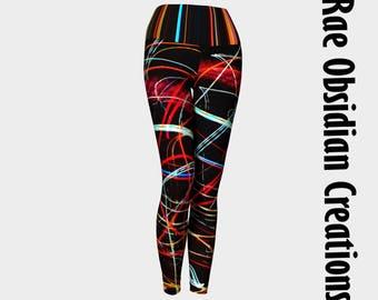Lights Yoga Leggings, Black Yoga Leggings, Multicolor, Womans Leggings, Yoga Tights