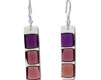Fused Glass Squares Earrings in Purple, Cherry or Orange. Mod, Colorful, Fun Earrings, Geometric, long earrings.