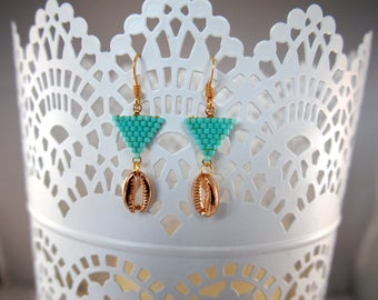 Earrings cowrie and turquoise beads Miyuki ★