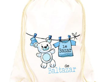 Backpack to be personalized blue Teddy bear pattern