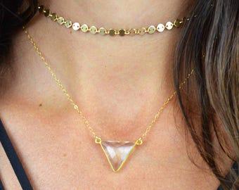 Quartz Triangle Necklace    Gold Triangle Necklace    Silver Triangle Necklace    14k Gold Filled    Sterling Silver