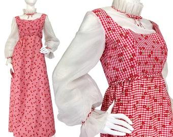 Vintage Prom Dress XS S, 70s Maxi Dress, Gingham Dress, Chiffon Bishop Sleeves, High Neck, Taffeta Dress, Ruff Collar, SIZE XS S 2 4,